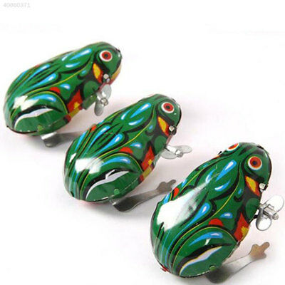 Jumping Wind-Up Toy Frog Green Metal Interactive Developmental