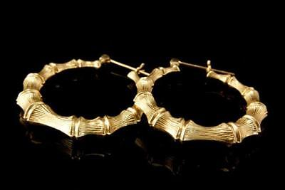 Old 14K Yellow Gold Bamboo Hoop Earrings  A49334