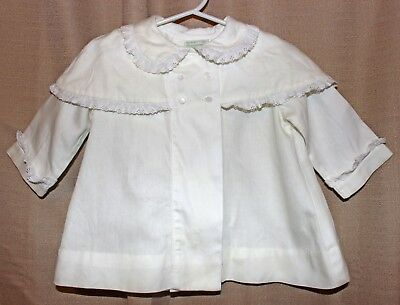 70s Vtg Kate Greenaway cream Toddler girls M lacey cape double button Jacket LS
