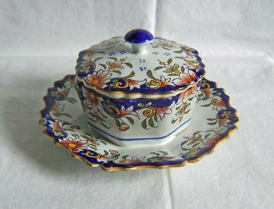 "Antique French Faience Covered Dish marked ""Etretat"" Desevres / Boulogne Pottery"
