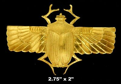 Vintage Brass Stamping / Large Winged Scarab  /Egyptian Revival  1 Pc.