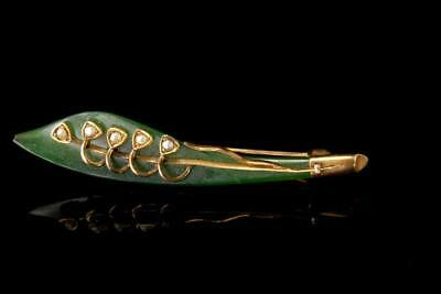 Old Chinese Carved Green Jade Lily Of Valey Seed Pearl 10K Gold Pin Brooch A3928