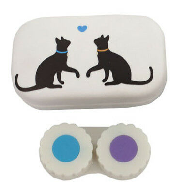 Puckator Contact Lens Lenses Handbag Travel & Storage Case w Mirror Twin Cat