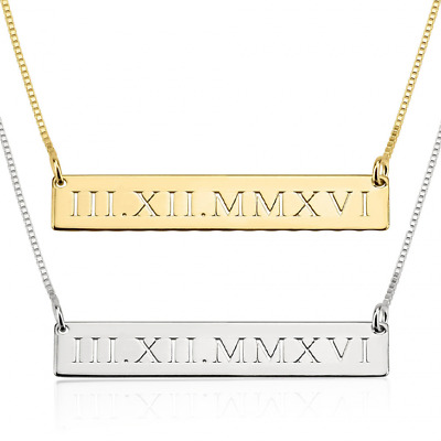 Roman Numerals Necklace Engraved Bar Personalized Date Love STERLING 3 Colors