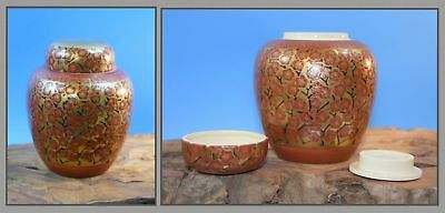 Kutani Japanese Porcelain Ginger Jar with BOTH Lids RARE! Handpainted Red Gilt