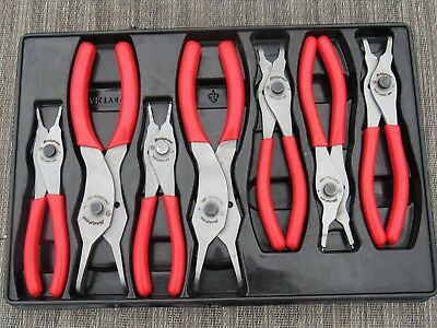 SNAP ON RED SOFT GRIP HANDLE RETAINING SNAP RING PLIER 7 Pc SET SRPC107A W/ TRAY