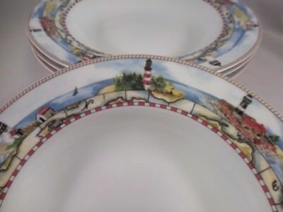 LIGHTHOUSES SIGNALS Lot of 4 Rimmed BOWLS by American Atelier- EXCELLENT!