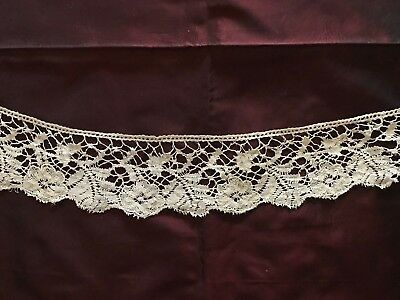 RARE early XIX C. BOBBIN LACE - FLORAL DESIGN - EDGING 3 m 70 cm - Sold per YARD