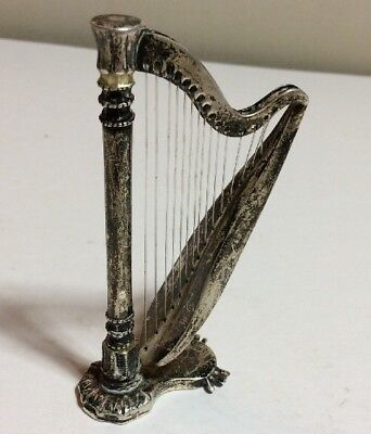 RARE Vintage Solid Sterling Silver Large Harp Miniature, Figurine, Stamped