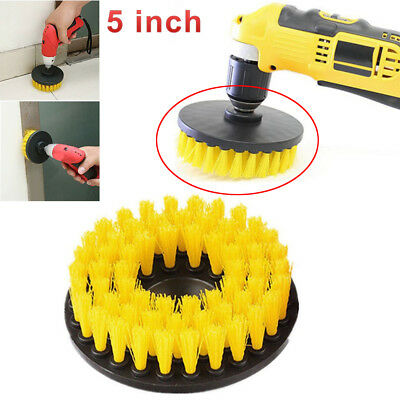 "5"" Drill Brush For Car Carpet Wall And Tile Cleaning Yellow Medium Duty Durable"