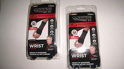 2x Copper Fit Compression Wrist Sleeve unisex X-Large Large or Medium