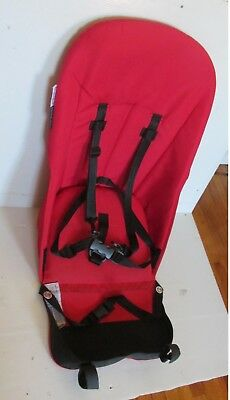 Red Bugaboo Cameleon Stroller Seat Cover Canvas Fabric Liner +Harness Wood Board