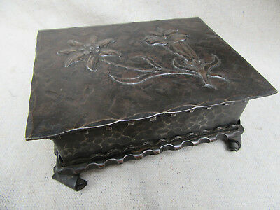 Vintage Arts & Crafts Hammered Metal Box