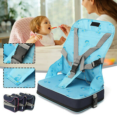 Baby Toddler Feeding Chair Foldable Dining High Booster Seat With Harness Safety