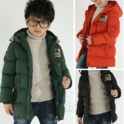 Boys Winter Hooded Coat Quilted Padded Jacket Kids School Trendy Parka Overcoats