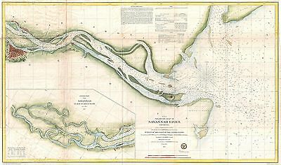1855 Coastal Survey map Nautical Chart the Savanna River Georgia