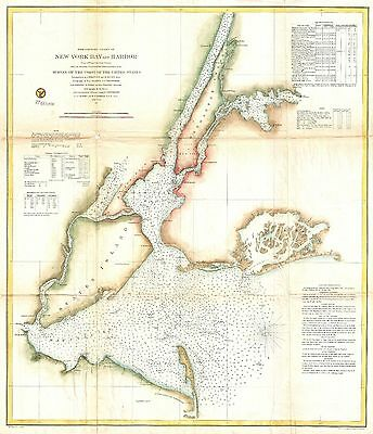 1857 Coastal Survey Map Nautical Chart of New York City and Harbor
