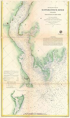 1857 Coastal Survey map the Rapphannock River South Virginia Nautical Chart  #2