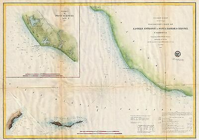 1857 Coastal Survey Map Nautical Chart Eastern Entrance to Santa Barbara Channel
