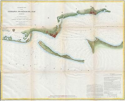 1857 Coastal Survey map Nautical Chart Penascola Bay and Harbor Florida