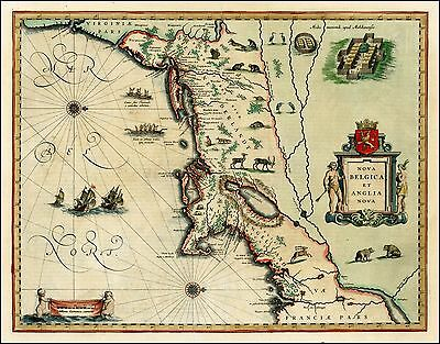 1635 map New England Northeast America Willem Janszoon Blaeu 24531