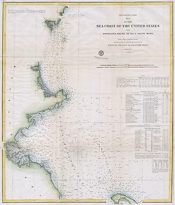 1857 Coastal map Nautical Chart Boston's North Shore Cape Ann Boston Portsmouth