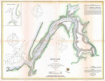 1865 Coastal Survey Map Nautical Chart of Coos Bay Oregon