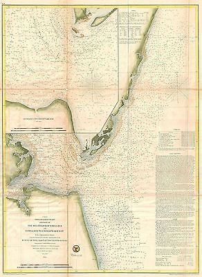1855 Coastal Survey Map Nautical Chart of the Chesapeake Bay Entrance