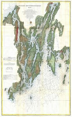 1862 Coastal Survey Map Nautical Chart Kennebec and Sheepscot Rivers Maine