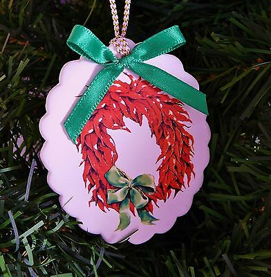 Chili Pepper Wreath Christmas Ornament Sandstone Creations Scalloped Oval SW