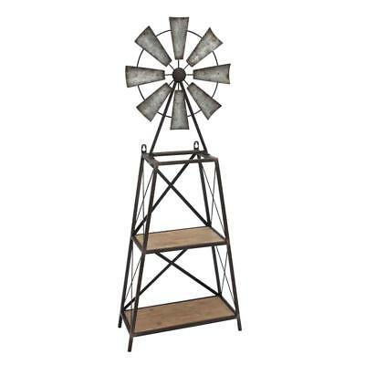Wood And Metal Windmill Table/Wall Shelf, Gray And Black