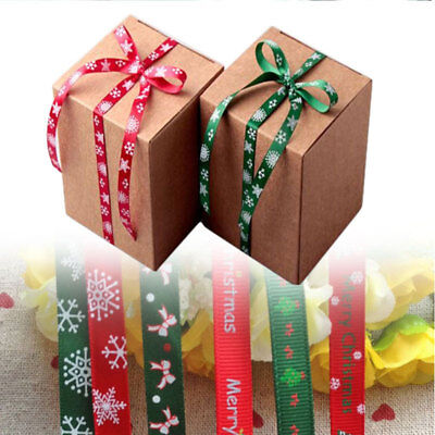Christmas Green Red Grosgrain Ribbon Merry Xmas Tree Gifts Decorations 500cmx9mm