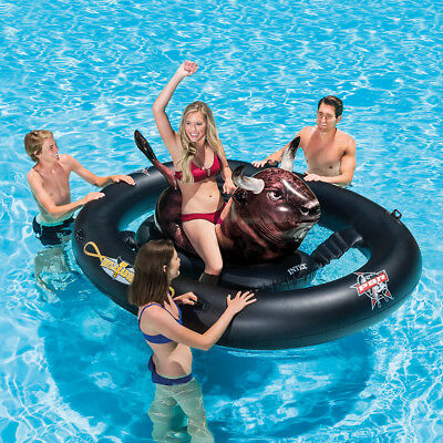 Riding Pool Float Lounge Intex Inflatable Cowboy Rodeo Bull Lake Swimming Funny