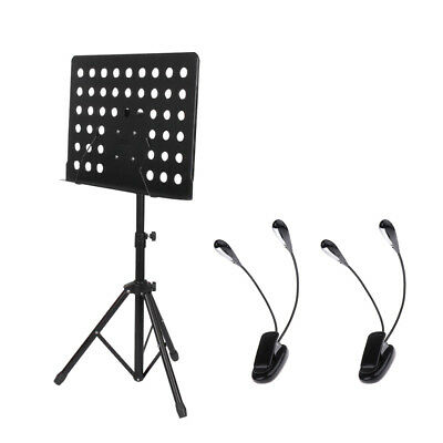 Adjustable Metal Tripod Music Stand w/ Clip-on Dual Arms Music Note Lights