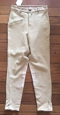 FAB 1970's RETRO KNIT AND LEATHER BEIGE JODHPURS SIZE 30