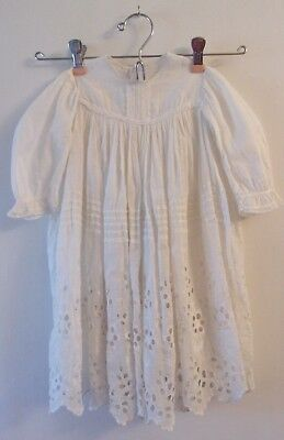 Vintage Victorian Style Natural Muslin Baby Dress With Daisies ~ Just Beautiful