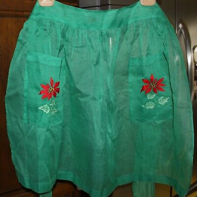 Vintage  Holiday Green Organza Apron Pointsettias Clean