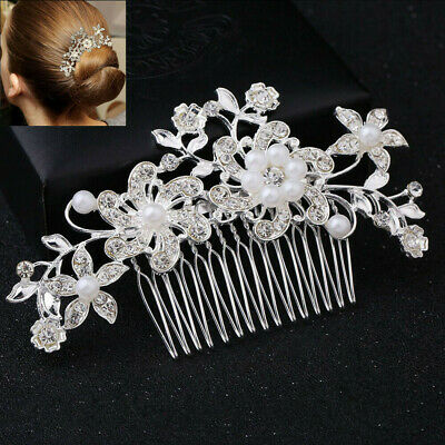 Bridal Wedding Crystal Diamante Hair Comb Pearls Clips Accessories Slide Grip