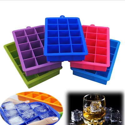 15 Cavity Large Silicone Food Grade Ice Cube Tray Ice Square Mold Cubes Sale