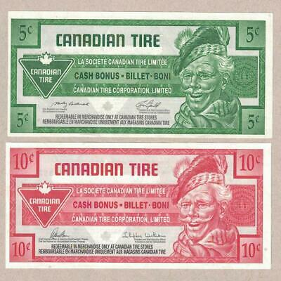 ( 2 ) CANADIAN TIRE MONEY NOTE's .05 cent  / .10 cent