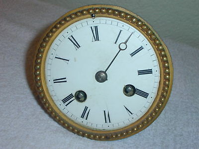 Japy Fils French Brass Clock Movement & Porcelain Dial 1840's - Parts or Repair