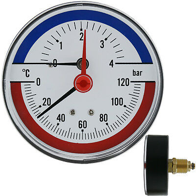 Thermomanometer temperature pressure thermometer manometer 1/2 rear entry 4 bar