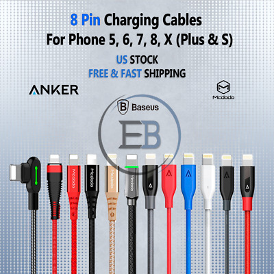 Lightning Cable Charger USB Anker 3/6/10 FT For iPhone 5 6s plus 7 8 X XS XR lot