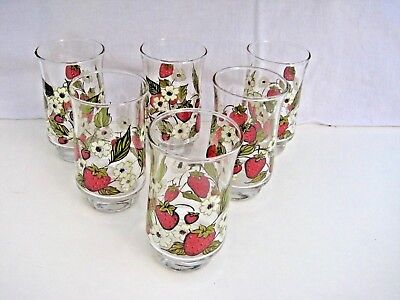 Set of 6 Strawberry Blossom Anchor Hocking Triguba Juice SIze Glasses 4""