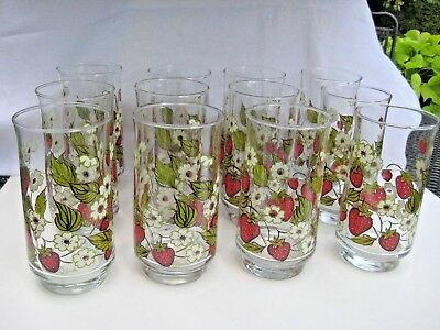 Set of 12 Strawberry Blossom Anchor Hocking Triguba Drinking Glasses 6""