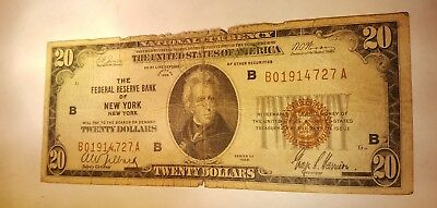 1929 $20 Federal Reserve Bank New York National currency note bill Low Serial #