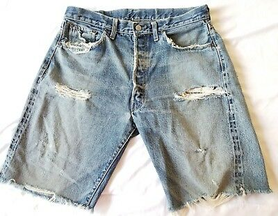 Vintage Levi's 501s XX Denim Jean Shorts Distressed Destroyed Ripped Cut Off 36W