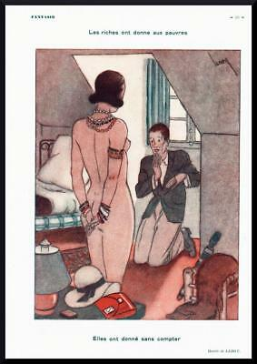 1931 ORIGINAL FRENCH ART DECO PRINT Naked Girl / Riches for the Poor LEROY F660