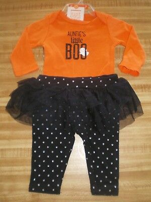 "Baby Girls Halloween Outfit Carters Size NB 3M 6M NEW ""Aunties Little Boo"""