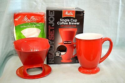NEW MELITTA Ready SET JOE Single CUP Coffee Red MUG Cone FILTER Manual Pour OVER